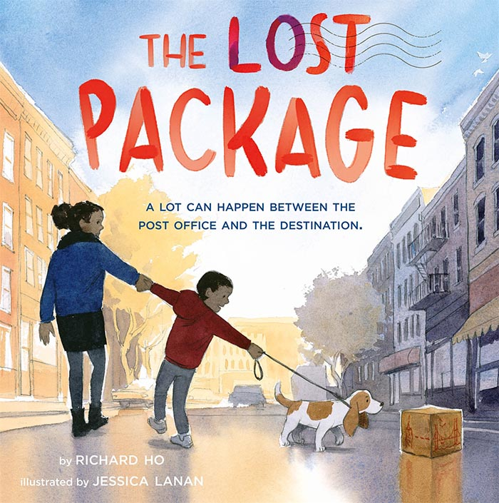 Cover image of picture book 'The Lost Package' showing a mother and son with a dog finding a small package on a city street.