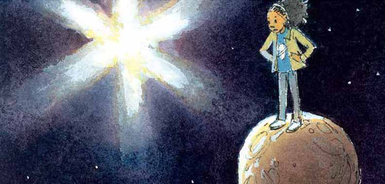Detail from illustration in 'Just Right' showing a girl standing with her hands on her hips on a miniature planet that would be much too small to be suitable for life.