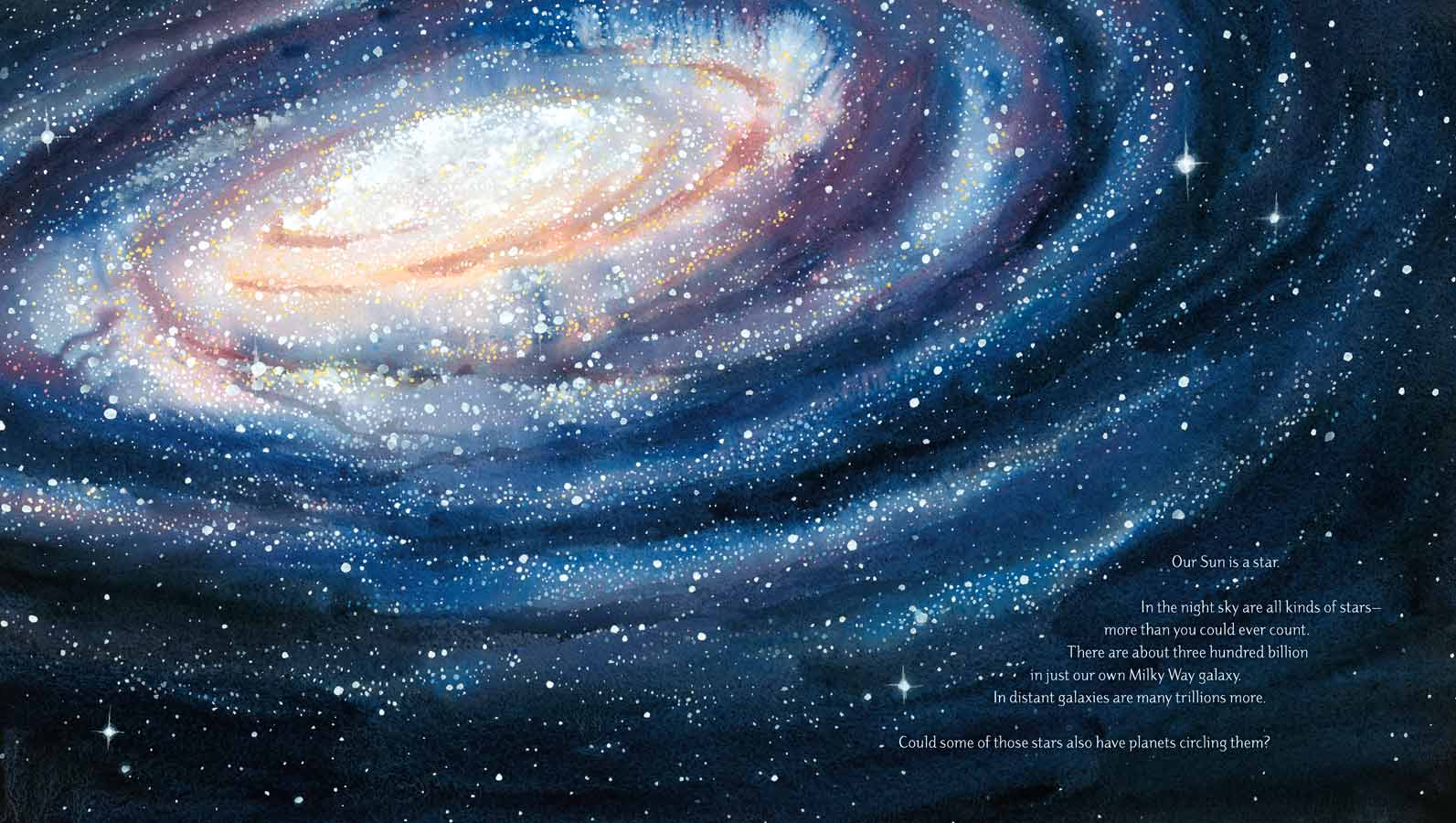 Watercolor illustration from the picture book 'Just Right' of the milky way galaxy.