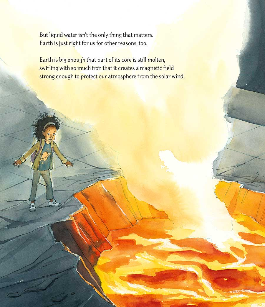 Detail from watercolor illustration 'Just Right' showing a girl standing at the edge of an opening in the museum floor with molten lava inside.