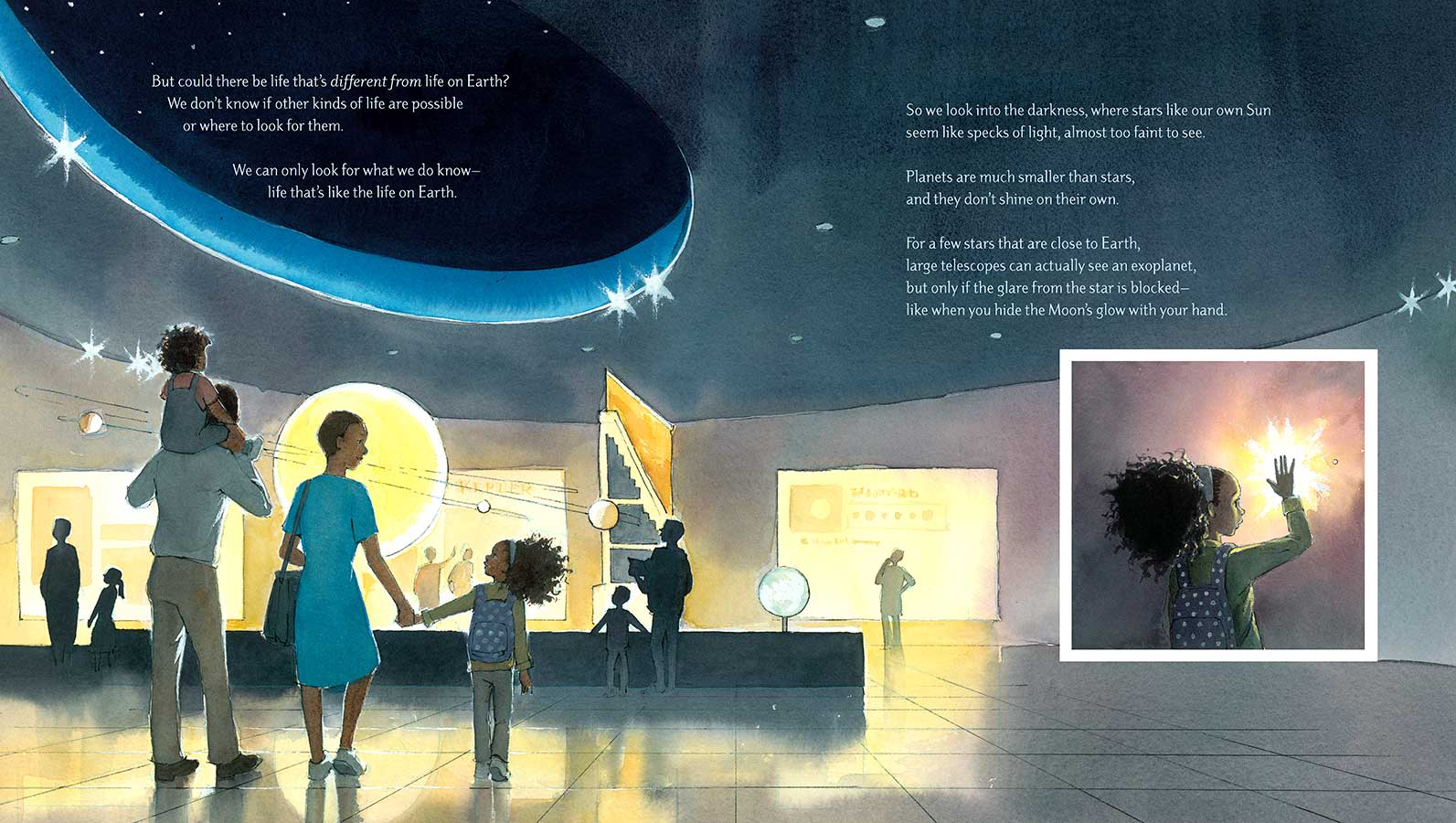 Watercolor spread from picture book 'Just Right' showing an African-American family of four walking toward a space exhibit inside a museum. On the right, an inset image shows the same girl blocking a bright light with her hand.