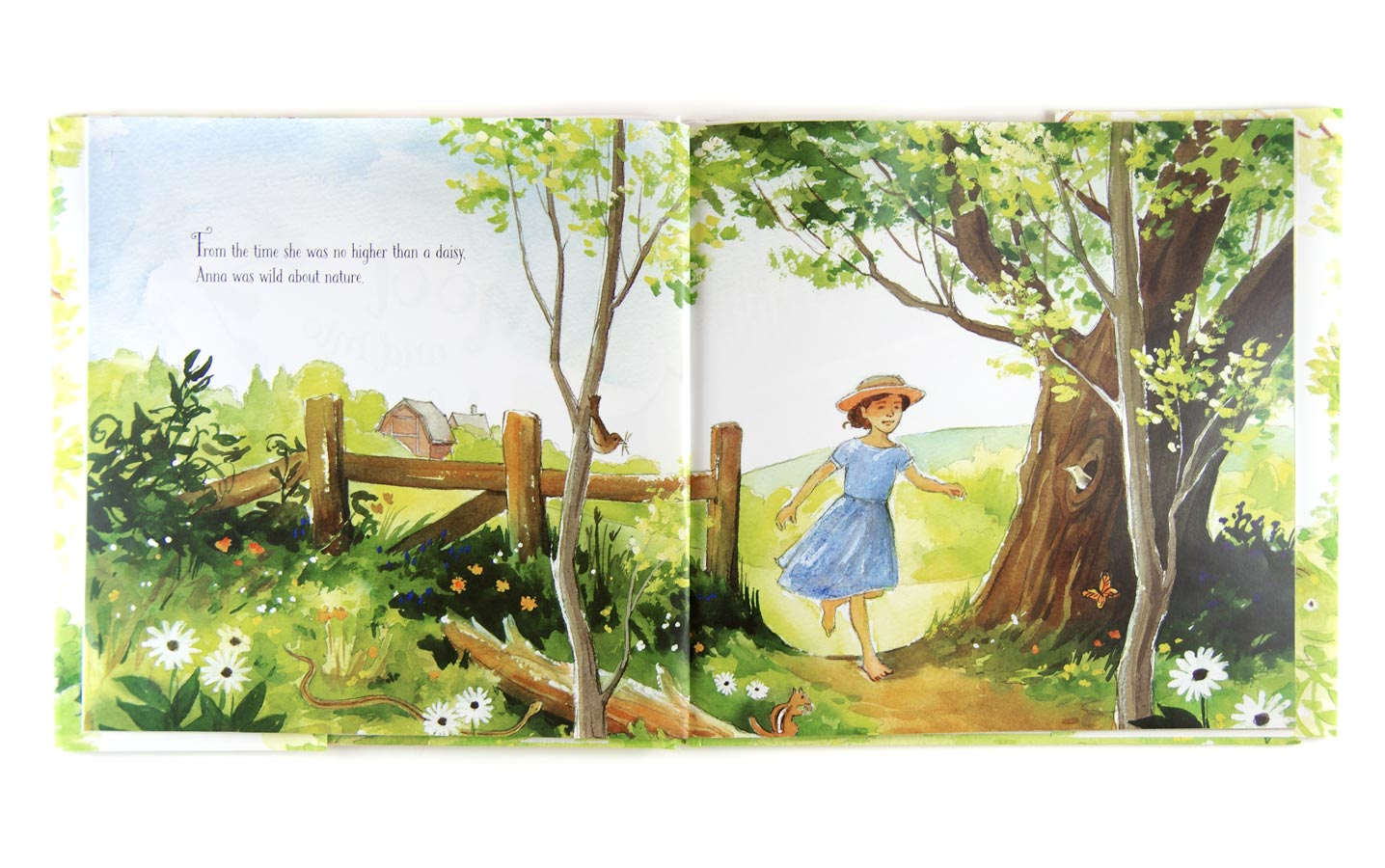 Photograph of first pages of Out of School and Into Nature, showing a young girl in a blue dress and straw hat running barefoot along a dirt path through the countryside on a sunny day. Details show butterflies, birds, and insects in the foliage.
