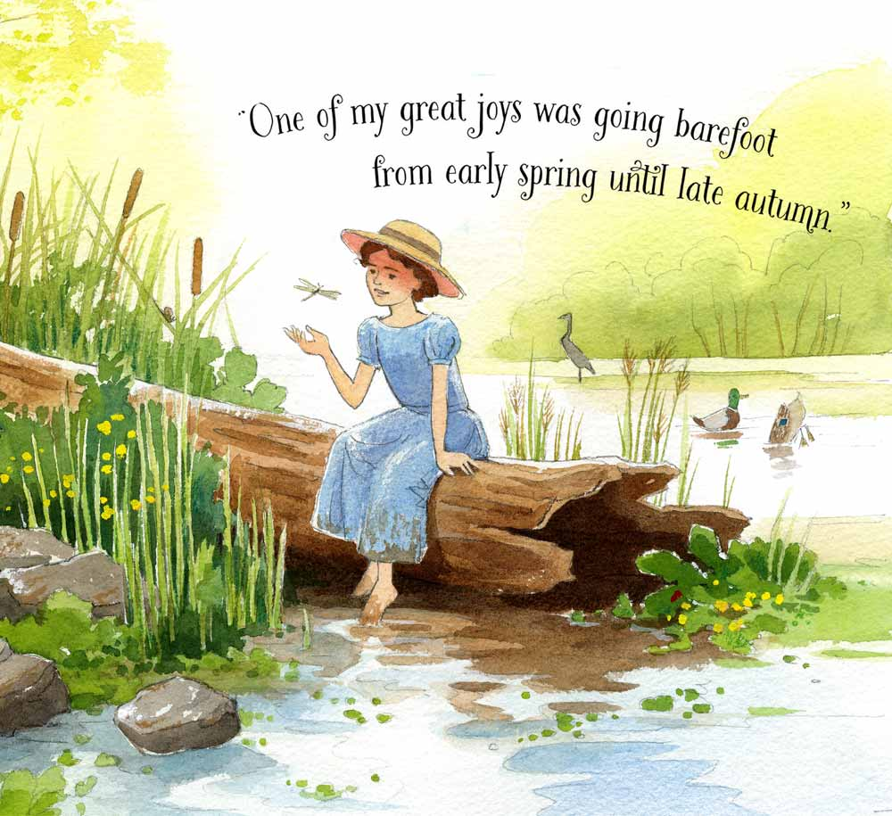 Detail from watercolor illustration by Jessica Lanan of a child Anna Comstock wearing a blue dress and straw hat sitting on a log and looking at a dragonfly. Her bare feet trail in the muddy water. Text reads