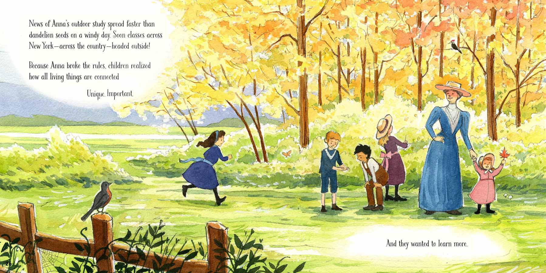 Watercolor illustration from 'Out of School and Into Nature' of a group of children and Anna Comstock looking at nature in a sunny field in autumn.