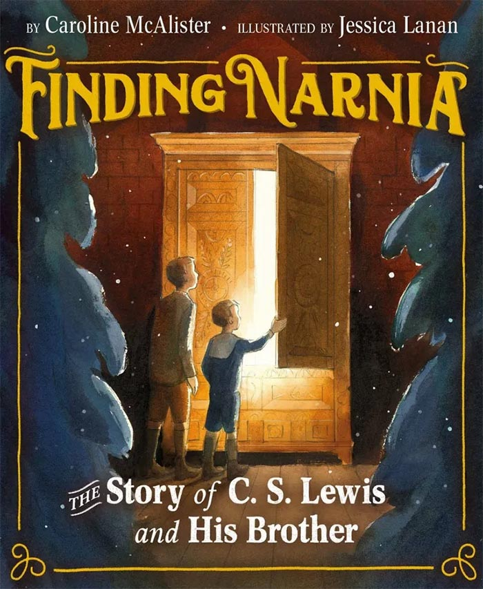Cover image of picture book 'Finding Narnia: The Story of C.S. Lewis and his Brother' featuring two boys opening the door of a wardrobe
