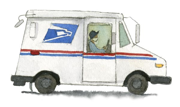 Watercolor illustration of a USPS mail delivery truck